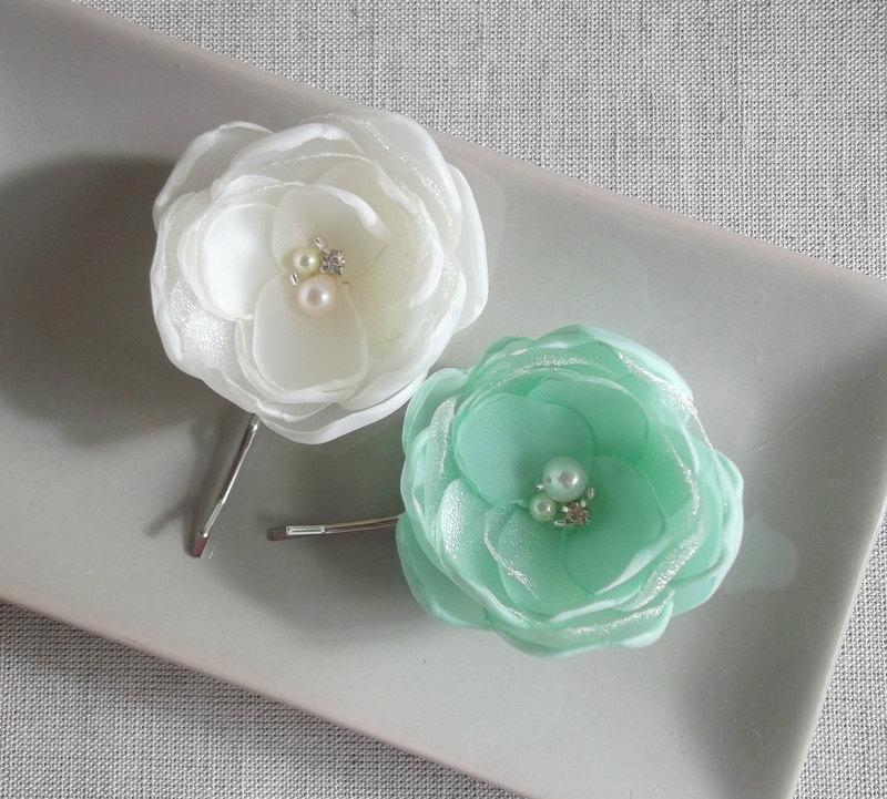 Hochzeit - Ivory Mint Green small fabric flowers in handmade Bridal Bridesmaids hair clip dress sash accessory Ornament Fresh water pearls Rhinestones