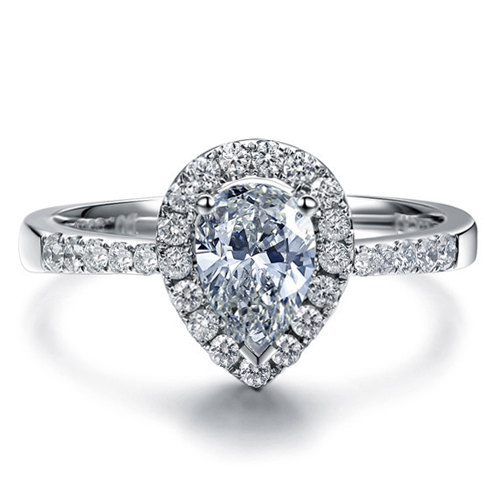 Mariage - Forever Brilliant Pear Moissanite Engagement Ring with Diamonds 950 Platinum Setting Diamond Ring