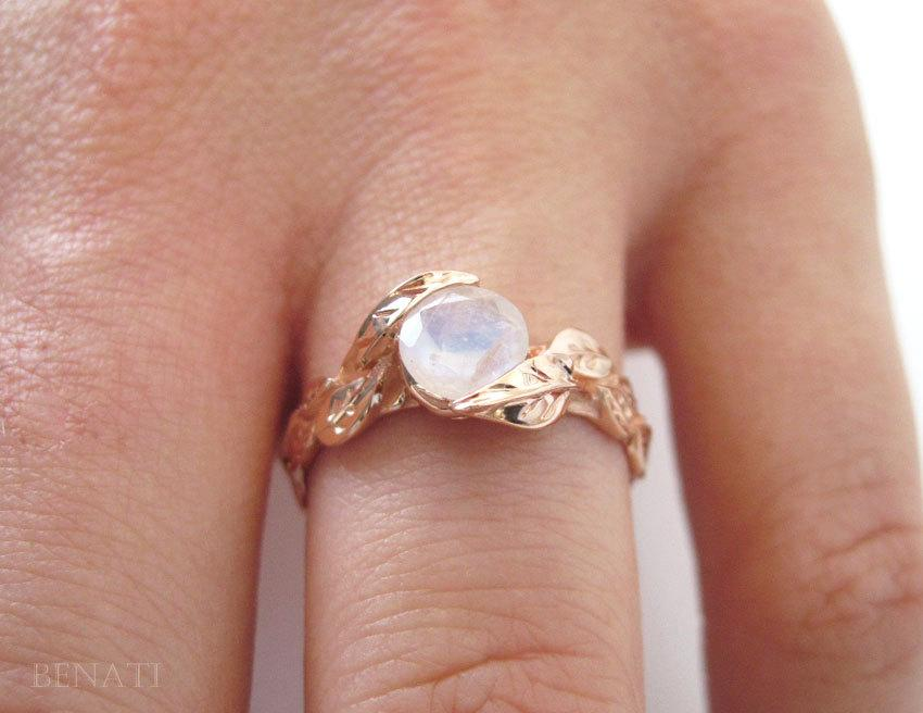 leaf ring with moonstone rose gold moonstone ring rose