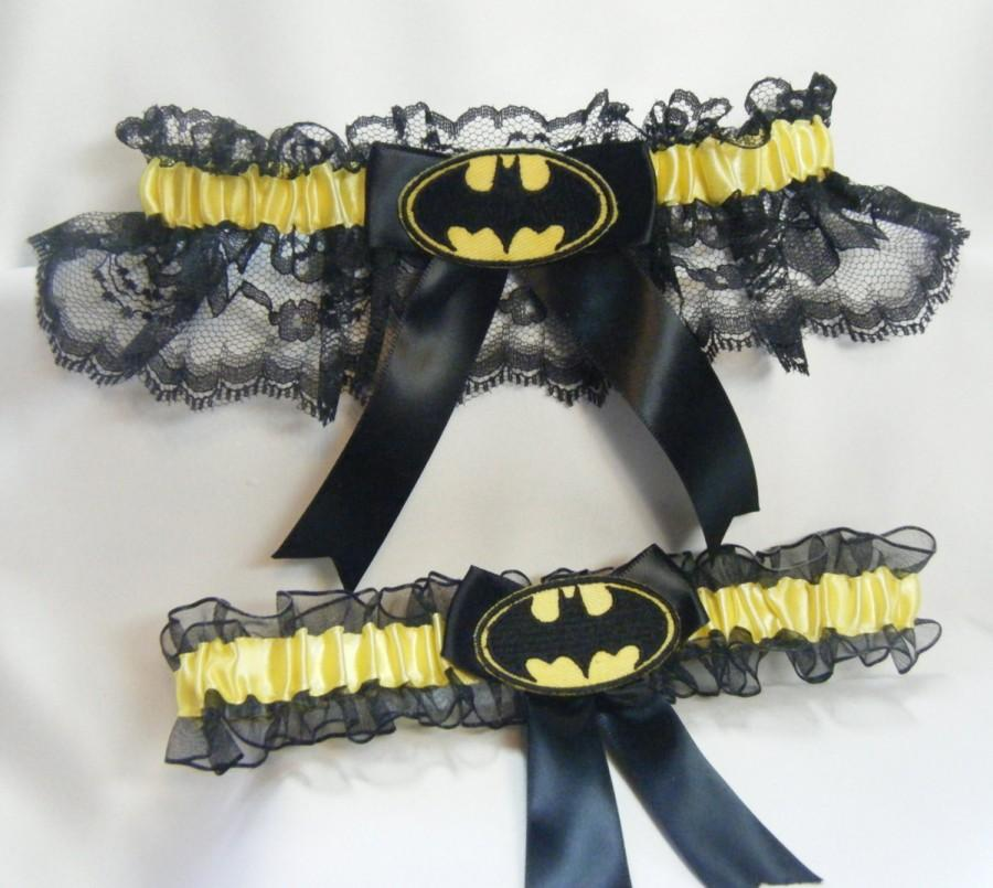 Mariage - Handmade Batman wedding garters black and yellow garter
