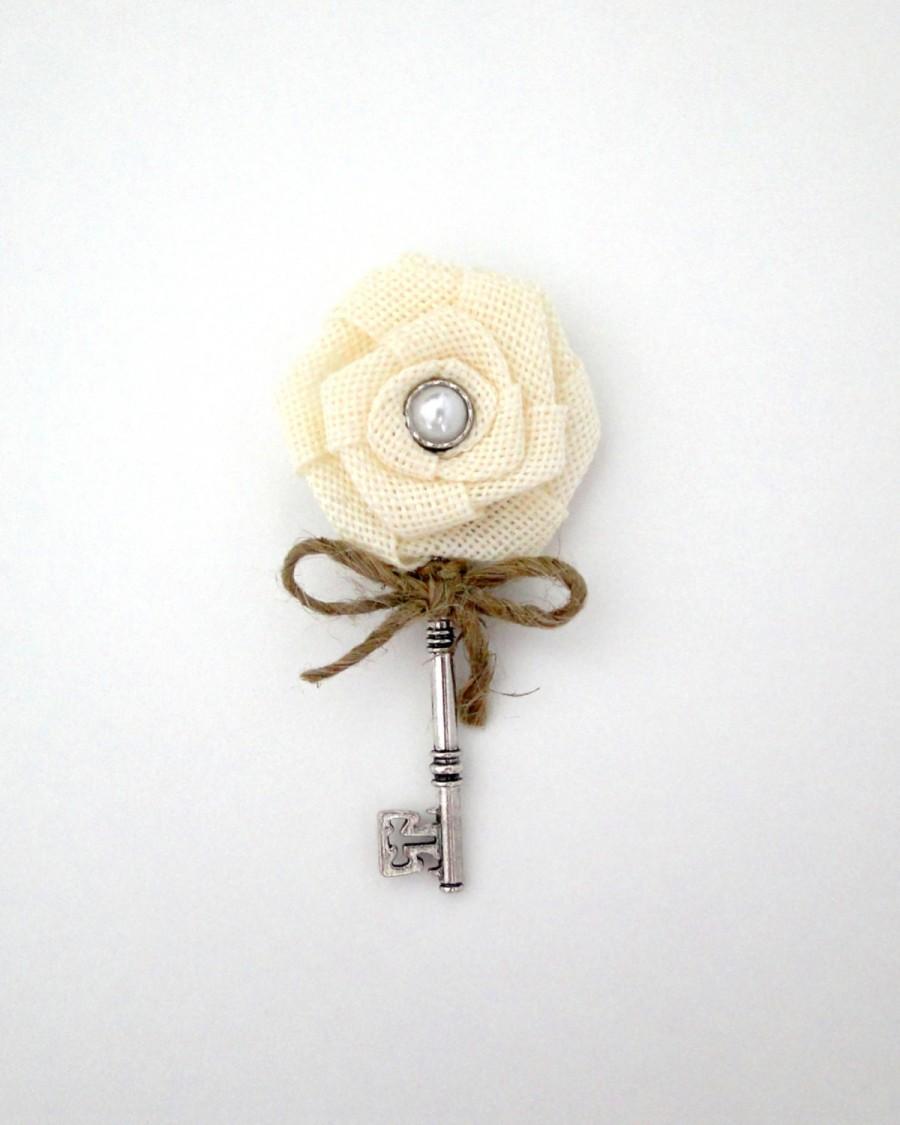 Ivory Burlap Boutonniere Rustic Key