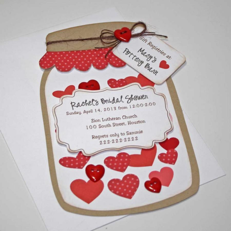 Bridal Wedding Shower Invitations, Rustic Red Mason Jar Card With ...