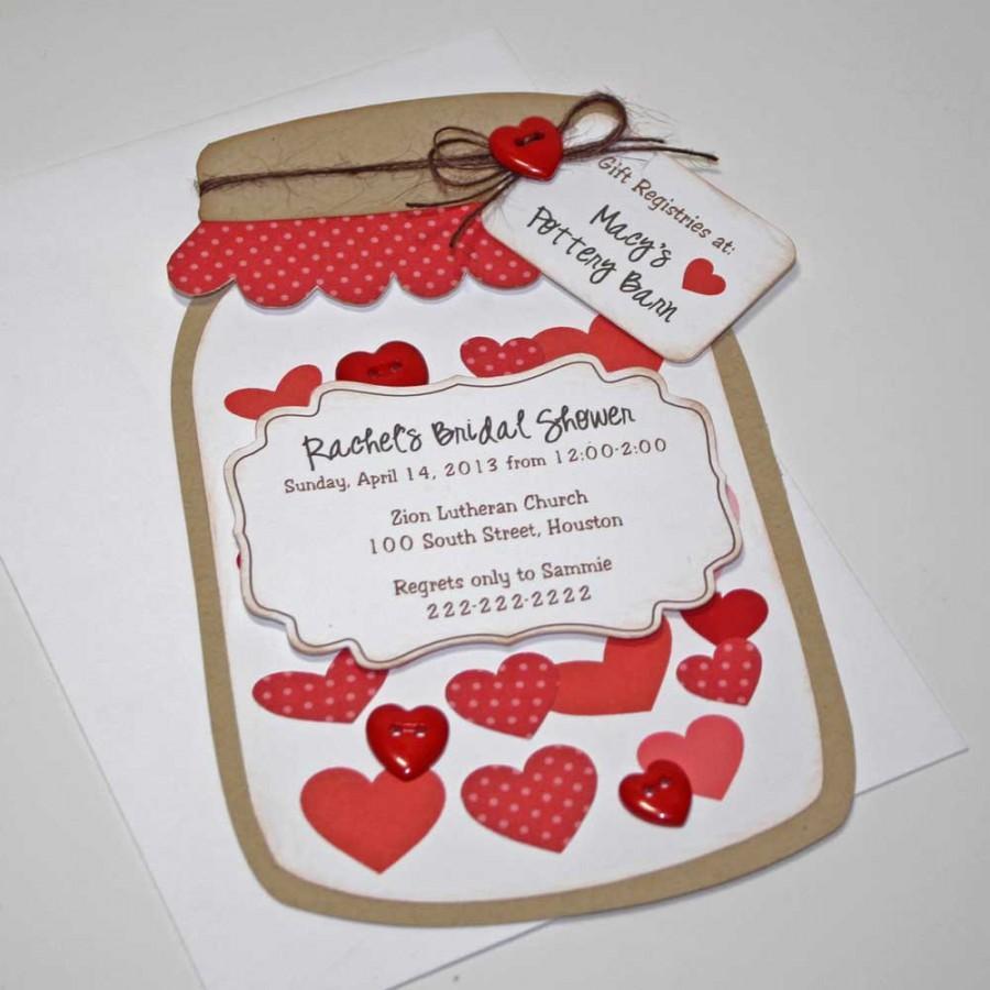 Wedding - Bridal Wedding Shower Invitations, Rustic Red Mason Jar Card with Hearts, Set of 12