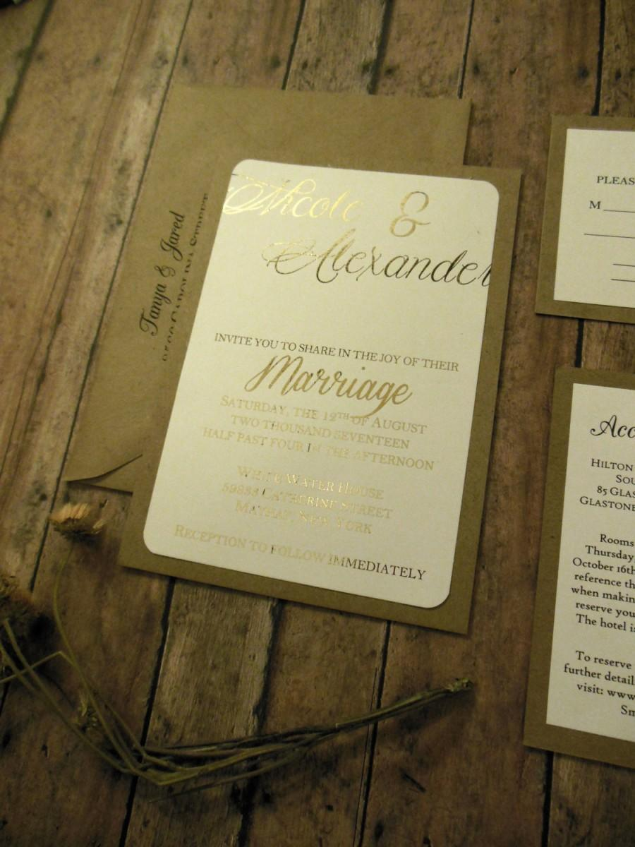 Hochzeit - Rustic Gold Wedding Invitation - Blush Wedding Invitation , Rustic Wedding Invitation  Gold Foil and Brown Kraft Ideas