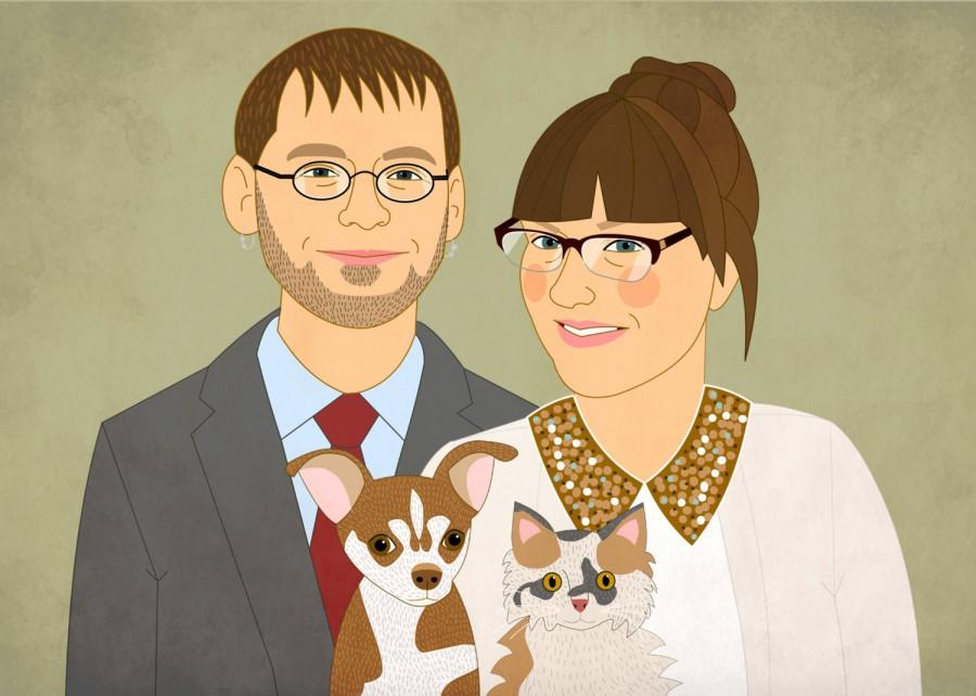 Свадьба - Wedding invite, with custom couple portrait. Digital file. Invitation. DIY Wedding.