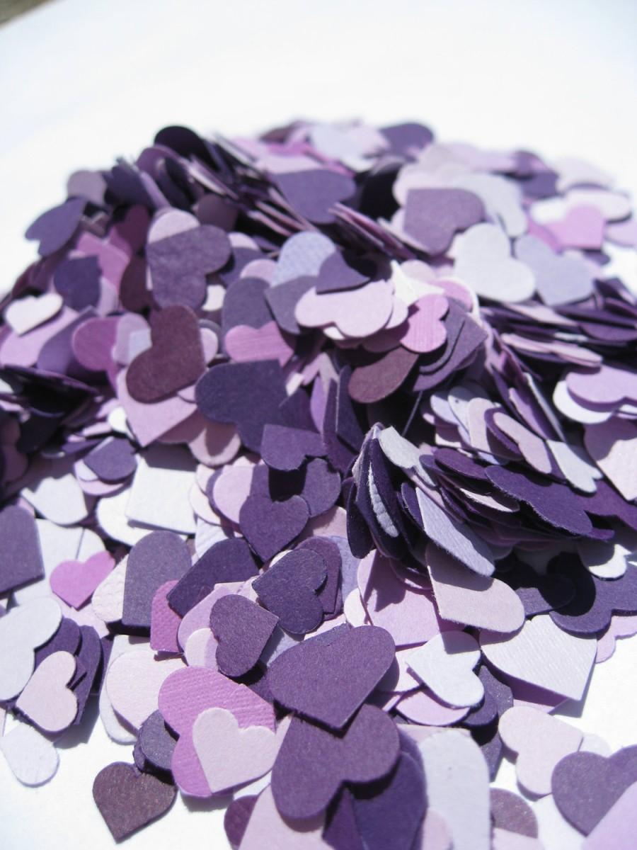 Düğün - Over 2000 Mini Confetti Hearts. Shades of Purple, Lavender, Iris, Lilac, Royal. Weddings, Showers, Decorations. ANY COLOR Available.