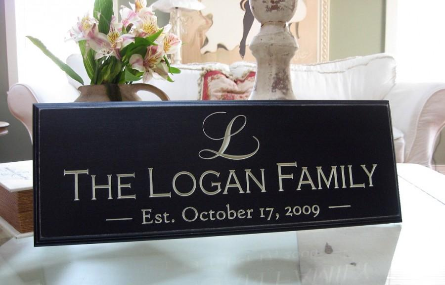 Mariage - Personalized Established Signs...Carved Personalized Family Name Sign 8 x 20