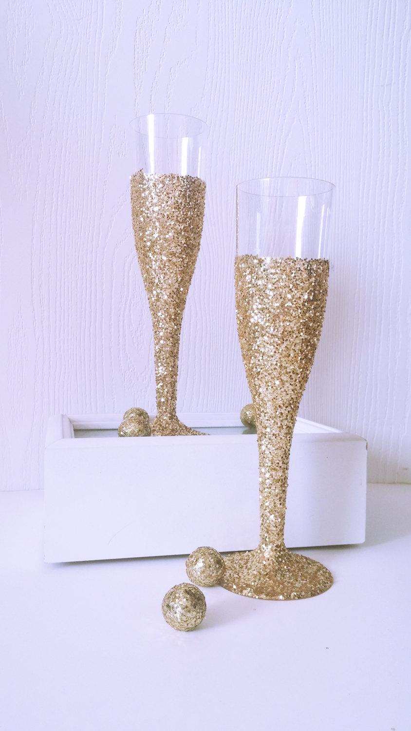 Wedding - Gold Glitter Champagne Flutes- Bachelorette Party Decor- Wedding Table Setting- Bridal Shower Decor-New Years Eve Party Flutes-Set of 12