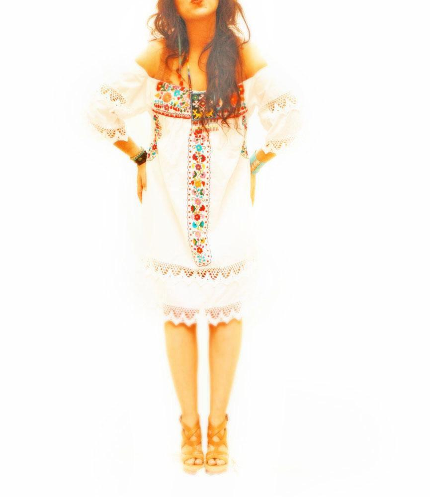 De San Antonino Vintage Mexican embroidered dress white romantic long bell  sleeve crochet boho embroidery