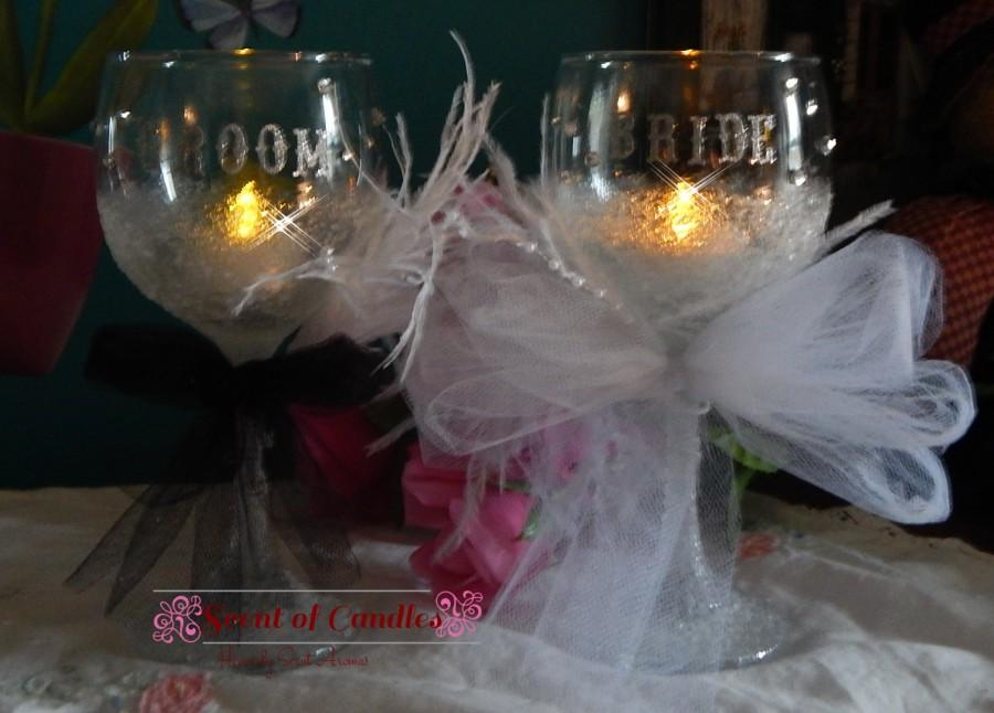 Wedding - Frosted Bride & Groom Wine Classes with Swarovski Crystals Bridal Gift, Bride and Groom