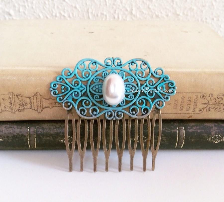 Mariage - Victorian Hair Comb Pearl Turquoise Teal Wedding Bridal Hair Accessories Blue Headpiece Vintage Style Bridesmaids Comb Art Deco Edwardian