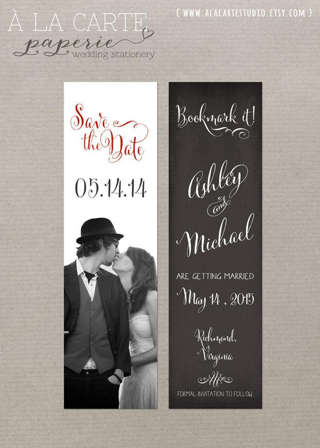 زفاف - Save the Date Bookmark Chalkboard Save the Date Vintage Wedding Rustic Wedding