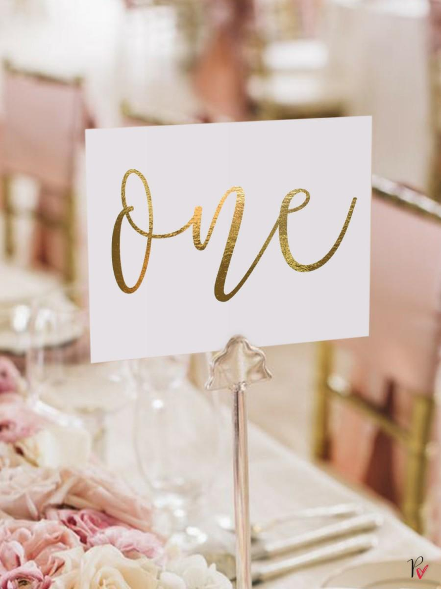 Gold Foil Table Numbers / Names Set - Personalised Gold Table ...