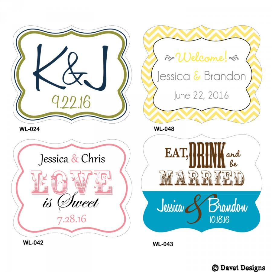Mariage - 120 - 2 x 1.625 inch Die Cut Custom Glossy Waterproof Wedding Stickers Labels - hundreds designs - change designs any color or wording