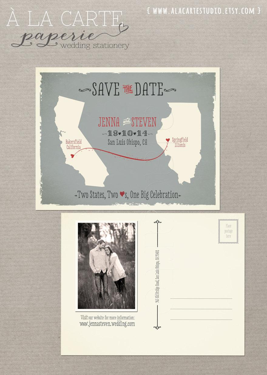 Destination wedding invitation usa state wedding modern save the destination wedding invitation usa state wedding modern save the date two states two hearts grey coral save the date postcard design fee stopboris Gallery