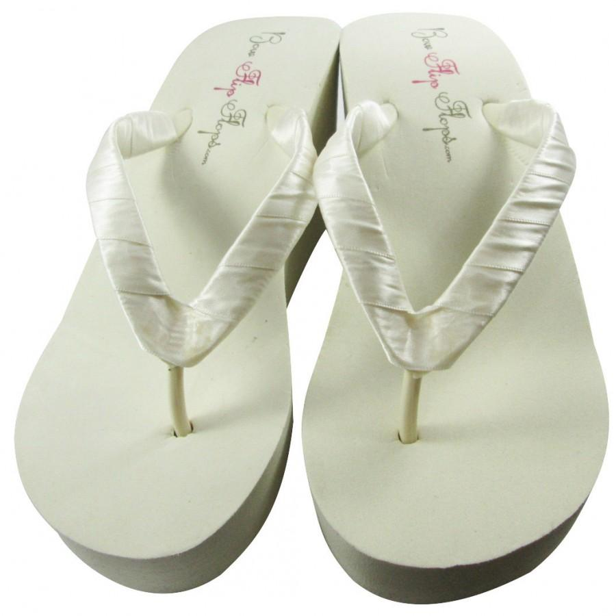 24c7ced3d19c43 Ivory Wedge or White Wedge Bridal Satin Flip Flops Black 3.5 inch 1.25 inch  2 inch Plain Heel Wedding Flip Flops Platform Sandals Bridesmaid