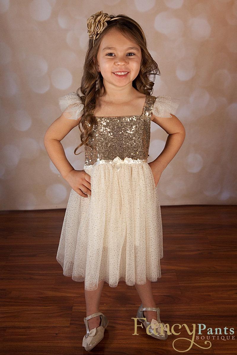 Flower Girl Dress Gold Sparkle Dress Sequin Dress Baby