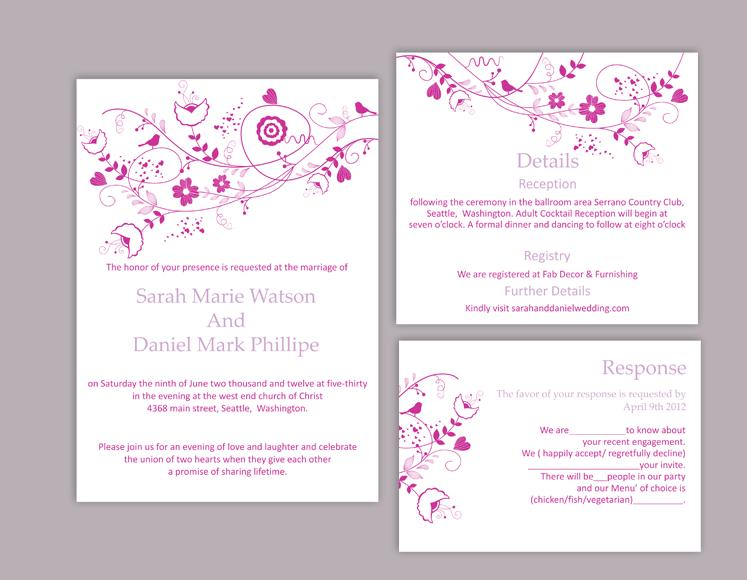 Свадьба - DIY Wedding Invitation Template Set Editable Word File Instant Download Floral Invitation Bird Invitation Printable Purple Invitations
