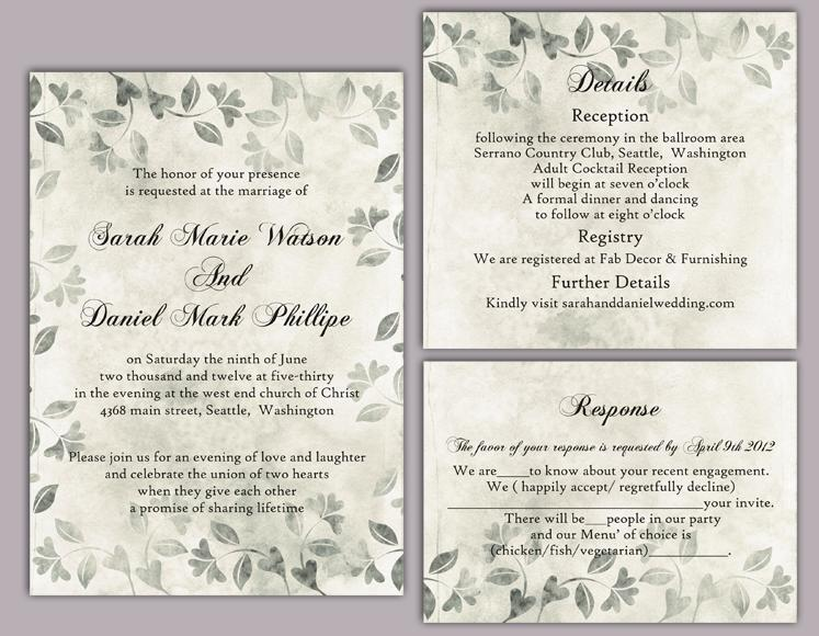 DIY Rustic Wedding Invitation Template Set Editable Word File ...