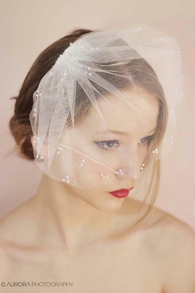 Свадьба - Tulle Birdcage Veil,Ivory Birdcage Veil,White Birdcage Veil,Pearl Birdcage Veil,Ivory Blusher Veil, Mini Veil