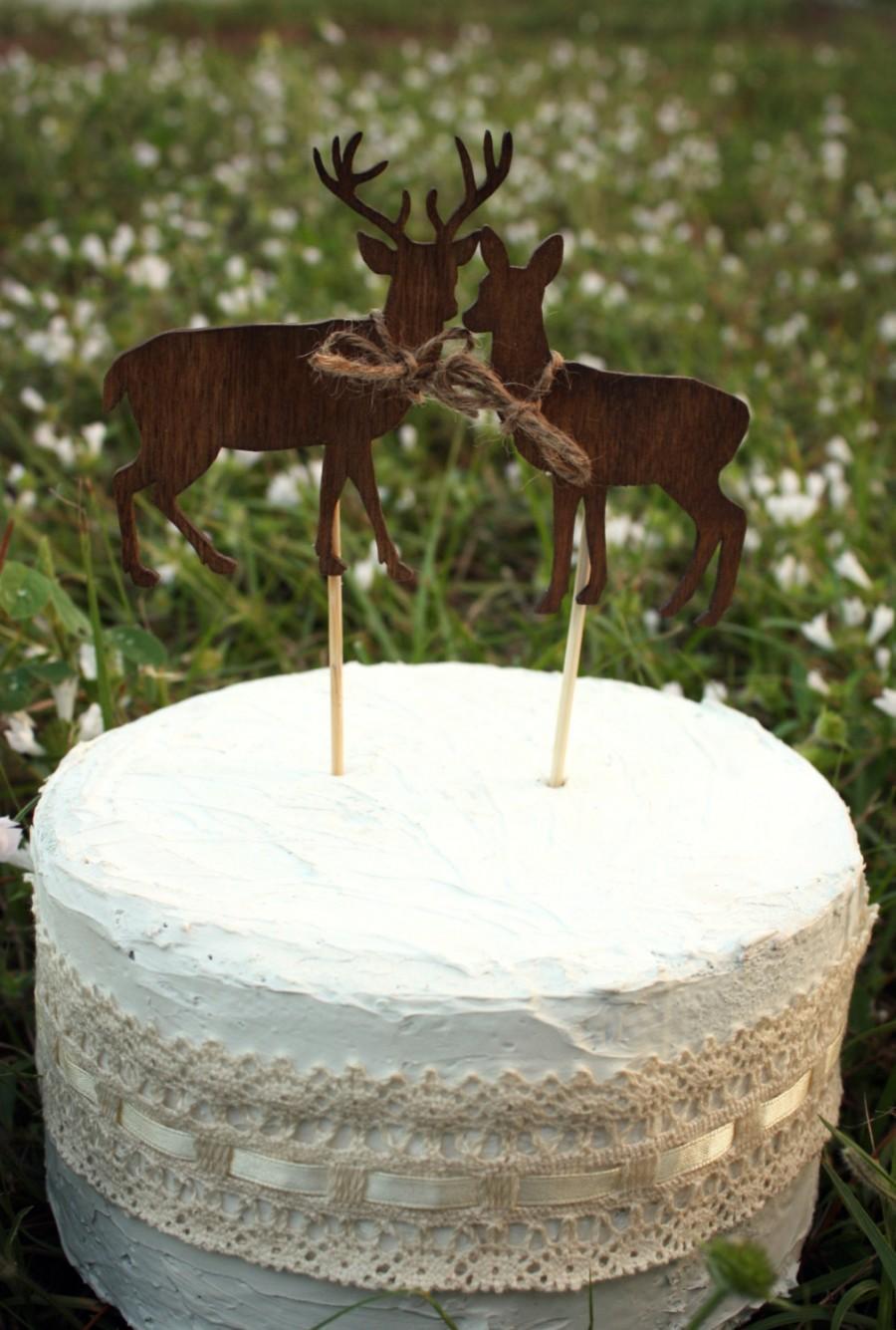 Mariage - Deer on sticks-wedding cake topper-deer-wedding-buck and doe-woodland wedding-rustic-wedding cake topper-groom's cake topper-hunter-groom