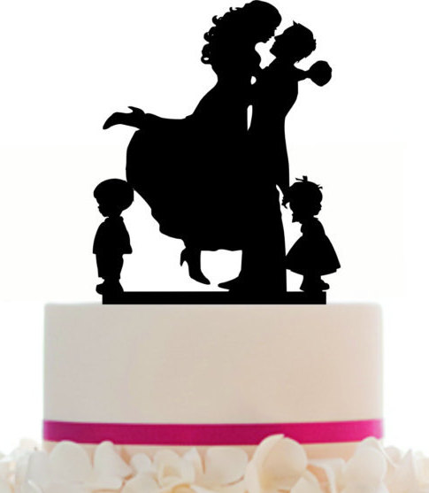 Mariage - Wedding Cake Topper Custom, Couple Silhouette and any kid silhouette of your choise UP to 3 kids with free base for display.after the event