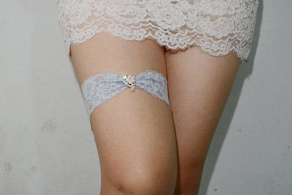 Свадьба - light blue bridal garter, something blue garter, wedding garter, bride garter, lace garter, rhinestone beaded lace garter
