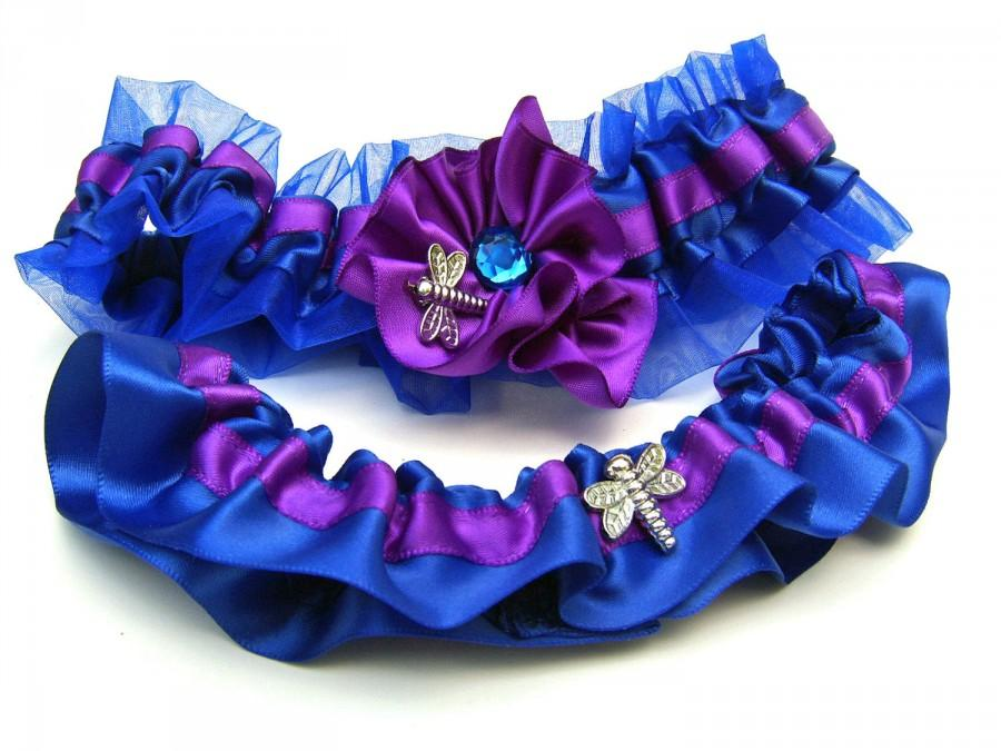 Royal Blue And Purple Wedding Garter Set With Dragonfly #2455646 ...