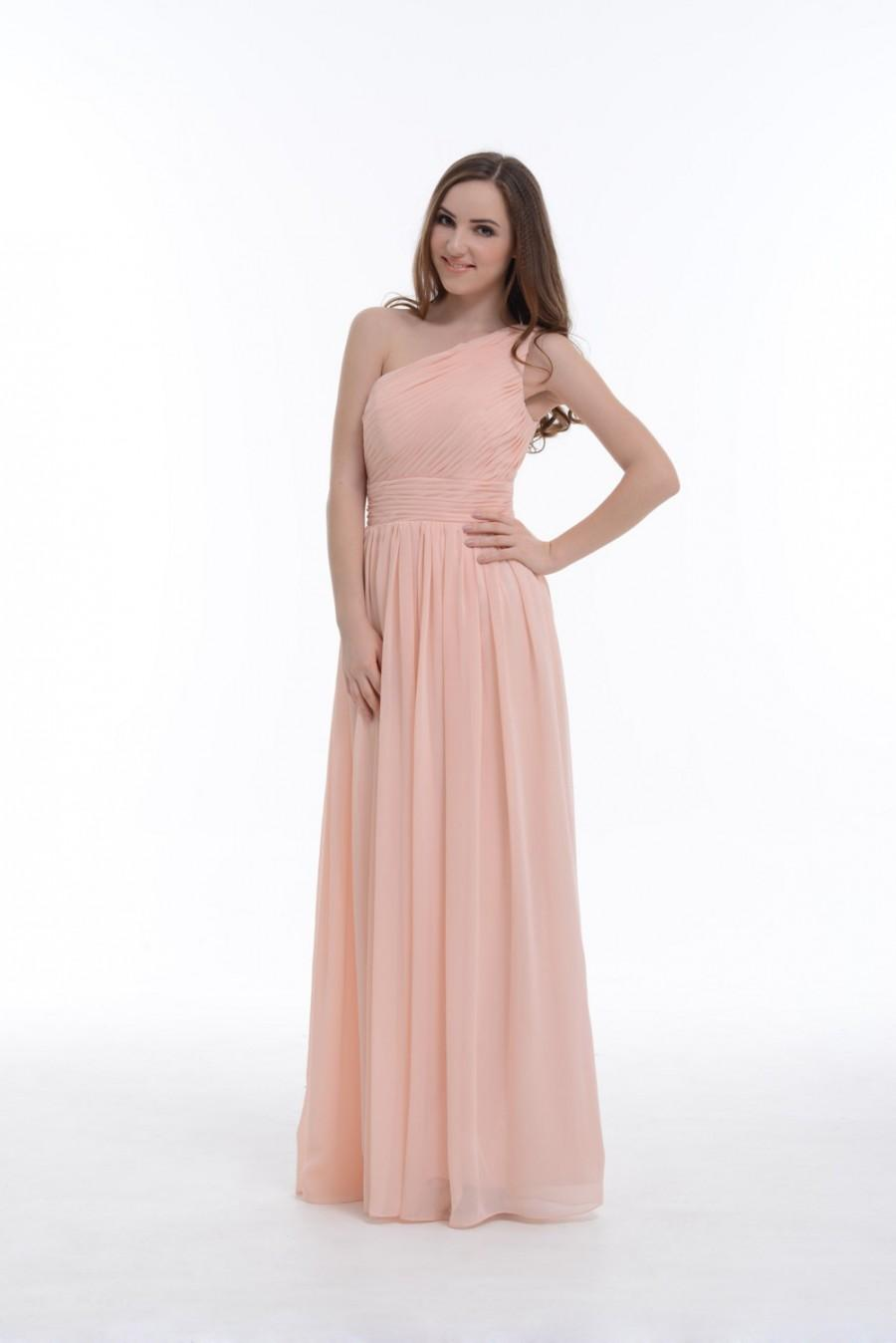 One-Shoulder Bridesmaid Dress, Pearl Pink A-Line Floor-Length ...