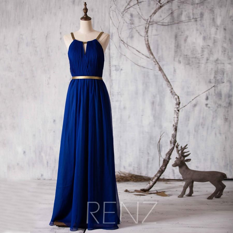 2017 Long Bridesmaid Dress Royal Blue Wedding Chiffon Formal Backless Maxi Gold Belt Prom Floor Length F066f