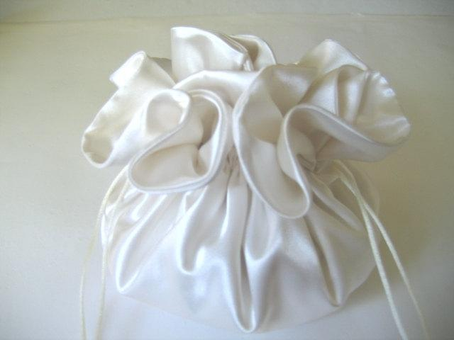 Wedding Dollar Dance Bag Brides Purse Money Ivory Satin
