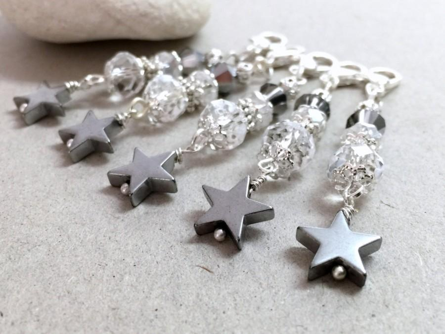 Hochzeit - Crystal Keychain, Star Keychain, Crystal Star Wedding Favors, Communion Favors, White party favors, White bag charm, Beaded keychain