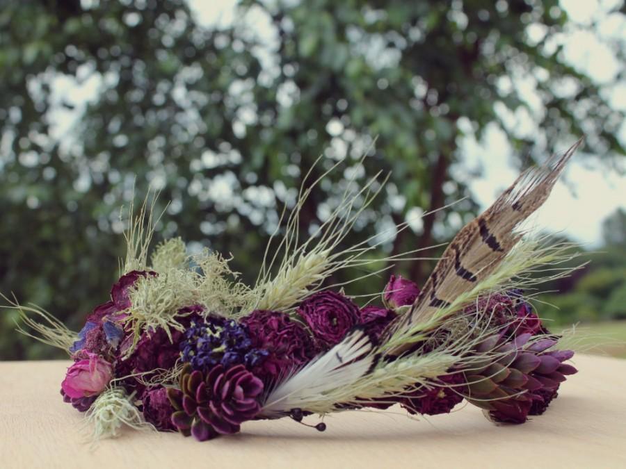 Свадьба - custom bridal crown, wheat bridal crown, dark purple flower crown, purple rose bridal crown, marsala bridal crown, eggplant crown, moss