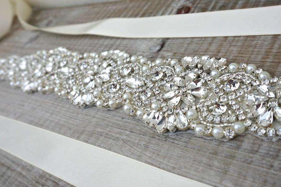 Mariage - Bridal sash, bridal belt, sash belt, rhinestone sash, pearl crystal sash, wedding dress belt, great gatsby wedding, wedding belt, dress sash