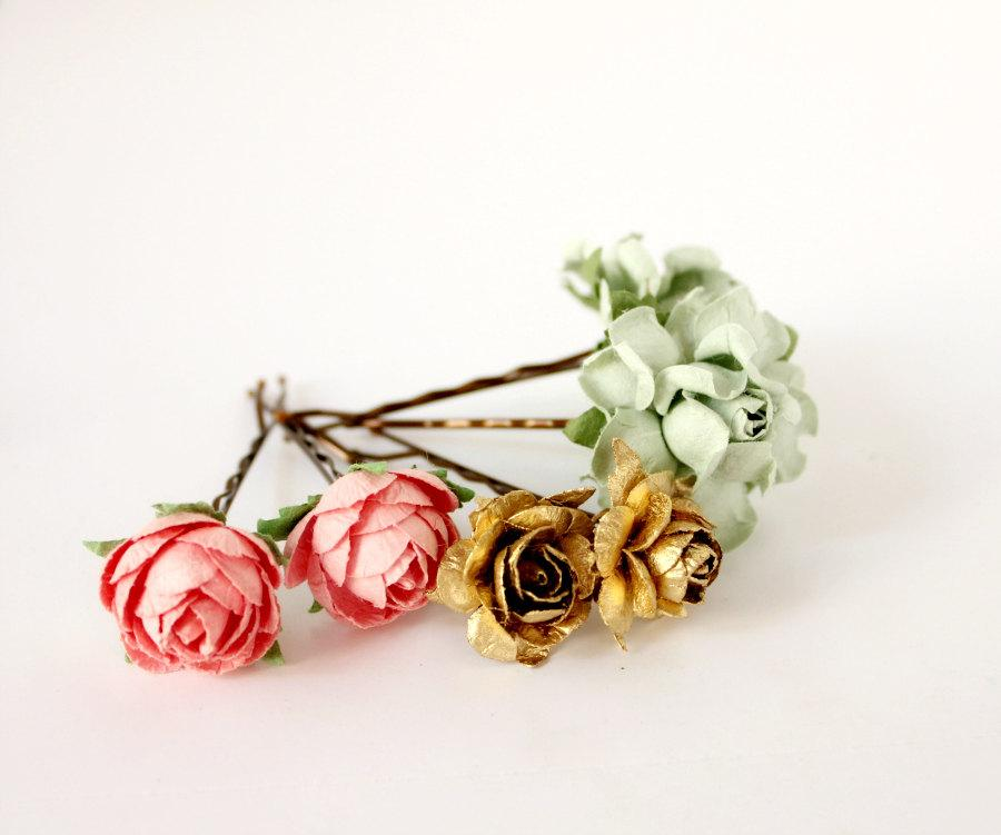 Свадьба - Mint, Pink and Gold Flower Hair Pins, Floral Hair Clip, Bridesmaids. Bridal, Summer, Spring, Weddings, Bridal, Hair Accessories, Floral