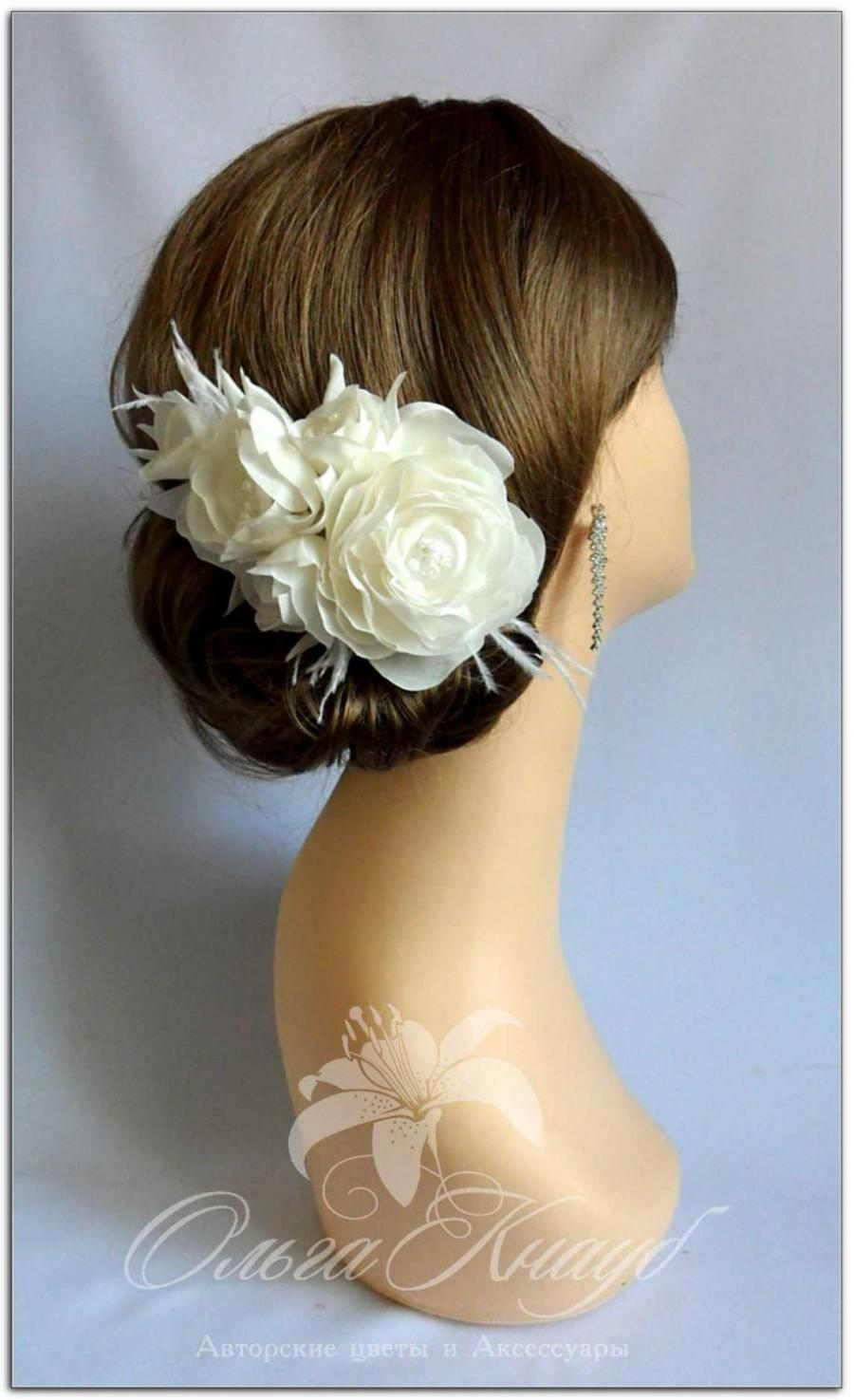 Mariage - Wedding Hair Accessories - Flower Headpiece, Wedding Hair Flowers, Handmade Fascinator, Birdcage Veil, Vintage Headpiece