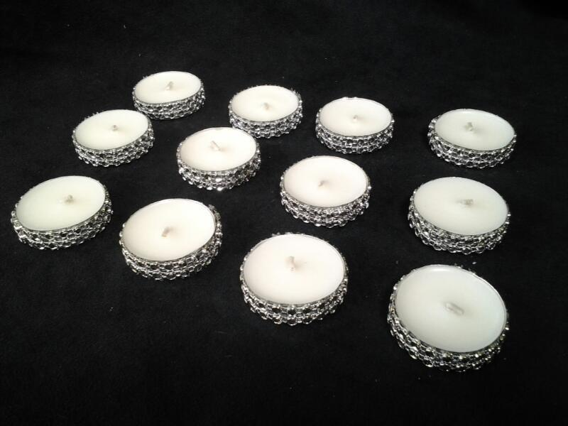 Mariage - Tealight Candles Silver Bling Rhinestone Diamond Crystal Wedding or Party Tealights 50 Pc Lot