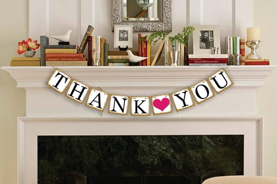 Hochzeit - Thank You Banner - Wedding Party Photo Prop - Thank You Sign - Wedding Sign - Wedding Banner - Garland