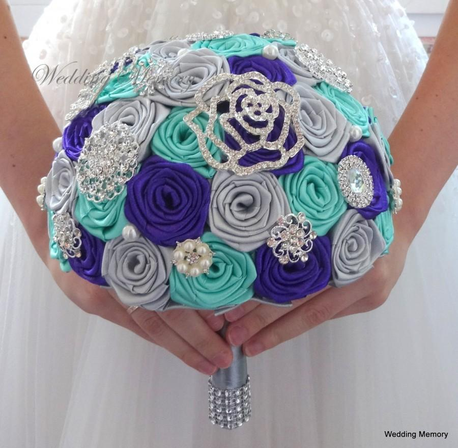 Aqua Spa, Purple And Silver Gra Brooch Bouquet. Wedding Bling ...