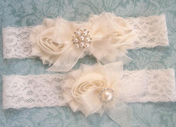 Hochzeit - SALE Vintage Bridal Garter- Wedding Garter Set- Toss Garter included  Ivory with Rhinestones and Pearls  Custom Wedding colors