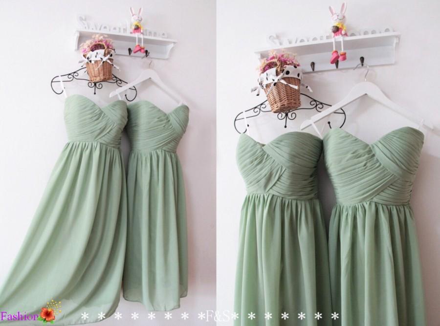 Hochzeit - Short Sage Bridesmaid Dress,Mint Sage Bridesmaid Dress,Modest Bridesmaid Dress,Junior Custom Bridesmaid Dress,Knee Length Bridesmaid Dresses