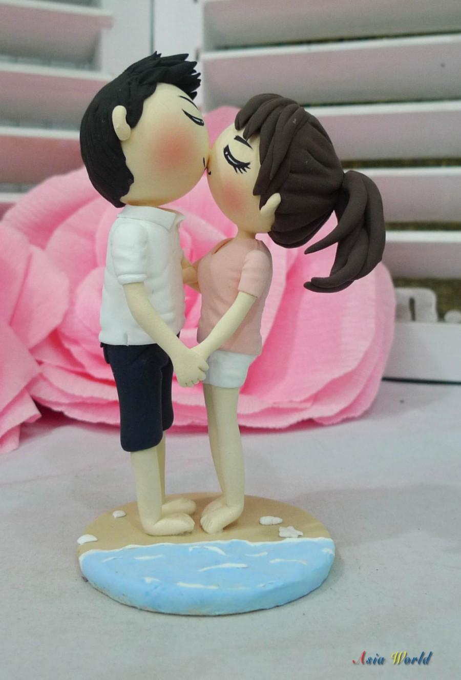 Sweet Kiss Beach Wedding Cake Topper Clay Doll,proposal Clay ...