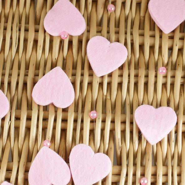 Mariage - Heart Garland Pink Felt- 5 meter piece. JR07630