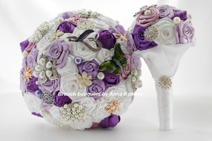 Wedding - Vintage brooch bouquet Purple wedding flowers White brooch bouquet Custom brooch bouquets Fabric brooch bouquet Custom bouquet Maid of Honor