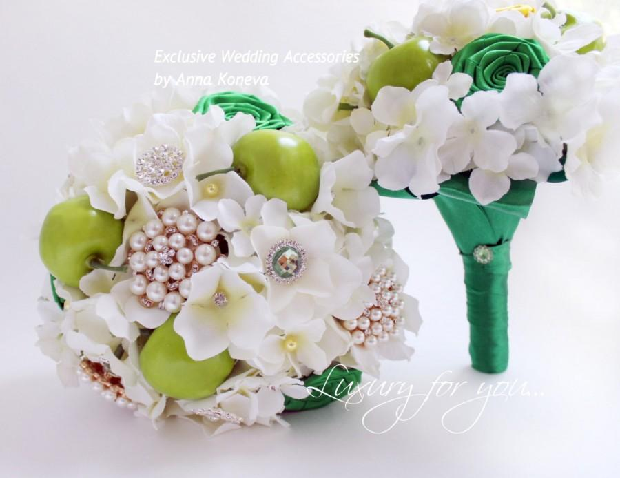 زفاف - Brooch bouquet green Silk hydrangea Bridal bouquet apples Wedding brooch bouquet Ivory Jewelry bouquet Pearl bouquet Bridesmaid bouquet