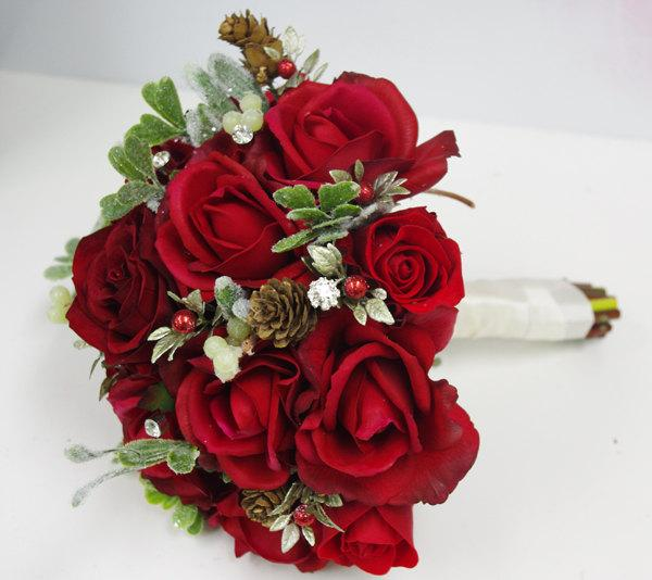 Hochzeit - Christmas Greens Red Silk Brooch Wedding Bouquet - Natural Touch Red Roses Bride Bouquet