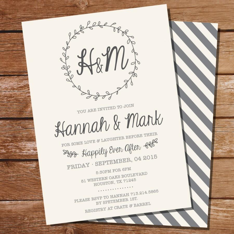 Wedding - Wreath Rehearsal Dinner Invitation - Couples Shower Invitation - Instant Download and Edit at Home with Adobe Reader - Print at Home