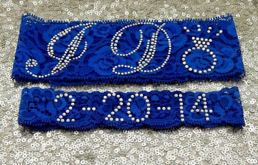 Свадьба - Wedding Garter Set - Royal BLUE Bridal Garter with SILVER Rhinestone I Do Show Garter & Rhinestone DATE Toss Garter - other colors