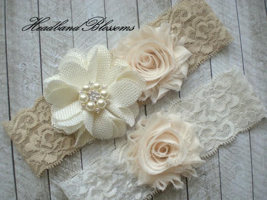 Свадьба - IVORY BEIGE Bridal Garter Set - Ivory Keepsake and Toss Wedding Garters - Chiffon Flower Rhinestone Garter - Vintage Lace Garter - Garder