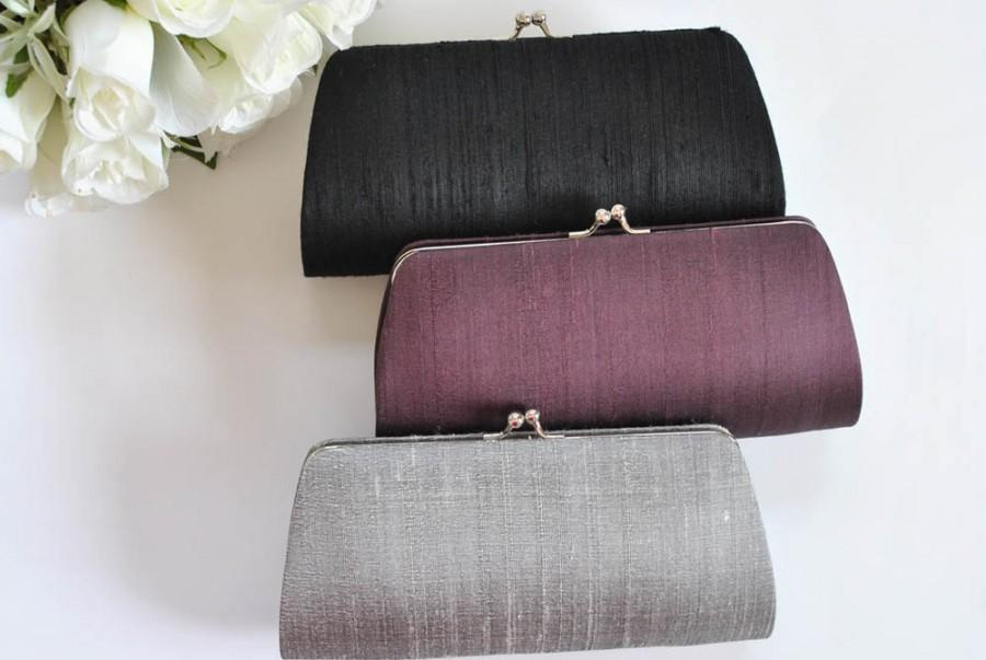 Dupioni Silk Clutch Wedding Bridal Bridesmaid S Mother Of The Bride Black Gray Eggplant